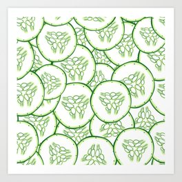 Cucumber slices pattern design Art Print