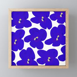 Blue Retro Flowers #decor #society6 #buyart Framed Mini Art Print