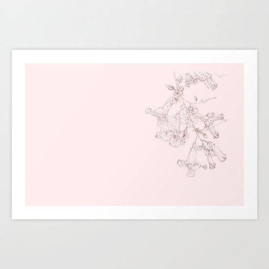 Pink Trumpet Vine_pink version Art Print