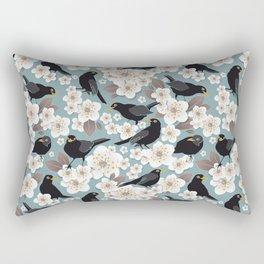 Waiting for the cherries I // Blackbirds blue background Rectangular Pillow
