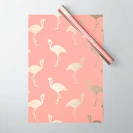 Gold Flamingo Pattern Coral Pink Wrapping Paper