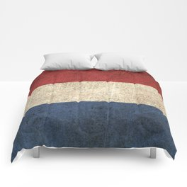 Old and Worn Distressed Vintage Flag of The Netherlands Comforters