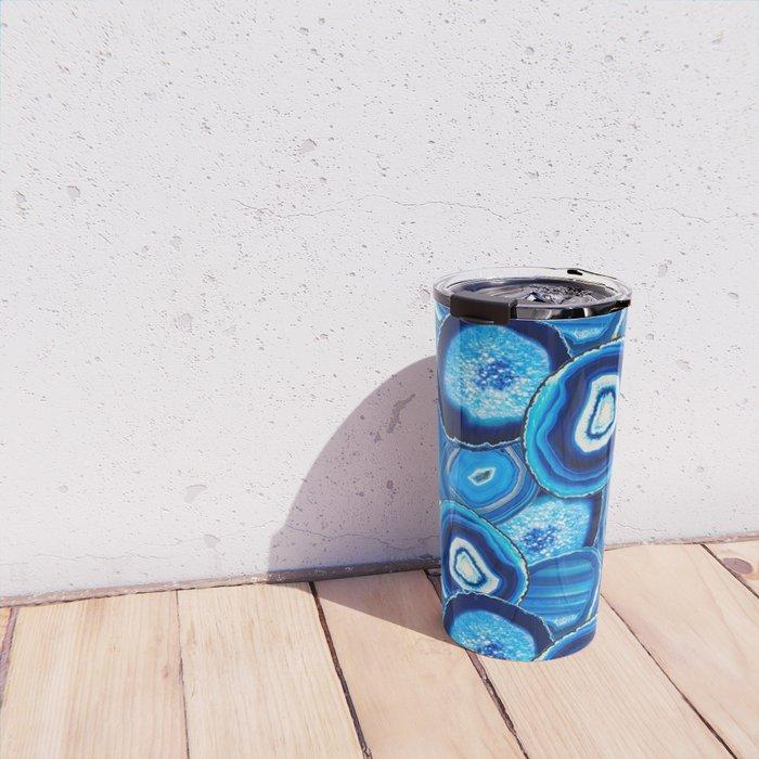 Geode Slices No.1 in Aquamarine + Sapphire Blue Travel Mug