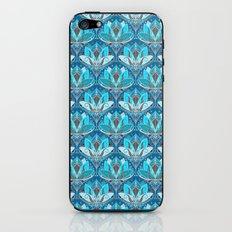 Art Deco Lotus Rising - black, teal & turquoise pattern iPhone & iPod Skin