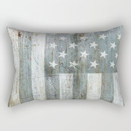 Silver American Flag Rectangular Pillow