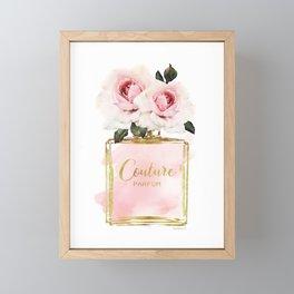 Perfume bottle with Flowers, Pink Roses, Make up, Blush Framed Mini Art Print