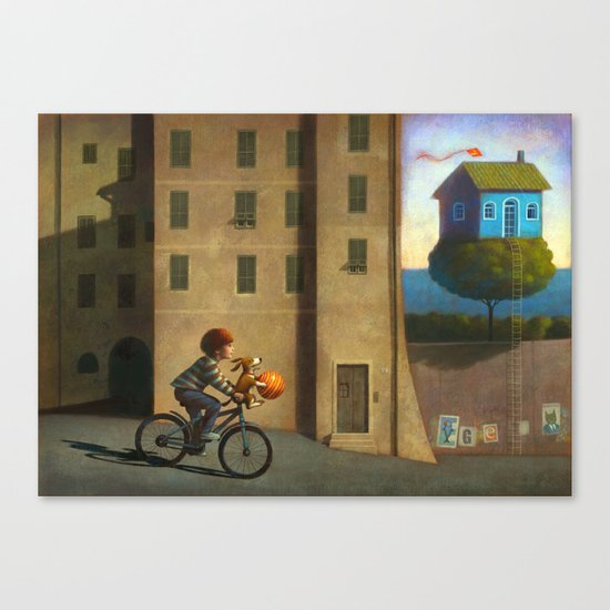 A green and blue house Canvas Print