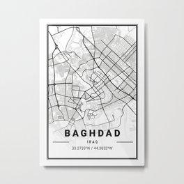 Baghdad Light City Map Metal Print