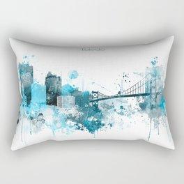 Toledo Monochrome Blue Skyline Rectangular Pillow