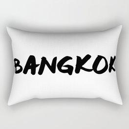 'Bangkok' Thailand Hand Letter Type Word Black & White Rectangular Pillow
