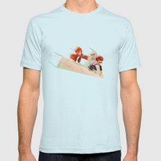 Flying Around Mens Fitted Tee SMALL Light Blue