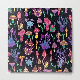 Mushroom Pattern Design Retro Psychedelic Metal Print