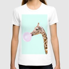 GIRAFFE Womens Fitted Tee White LARGE