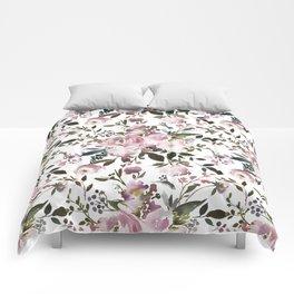 Blush rose pink green watercolor elegant floral Comforters