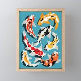 Colorful Koi Carps Swimming Around Framed Mini Art Print