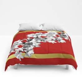 Lilies, Lily Flowers on Red Comforters