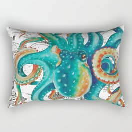 Teal Octopus Tentacles Vintage Map Nautical Rectangular Pillow