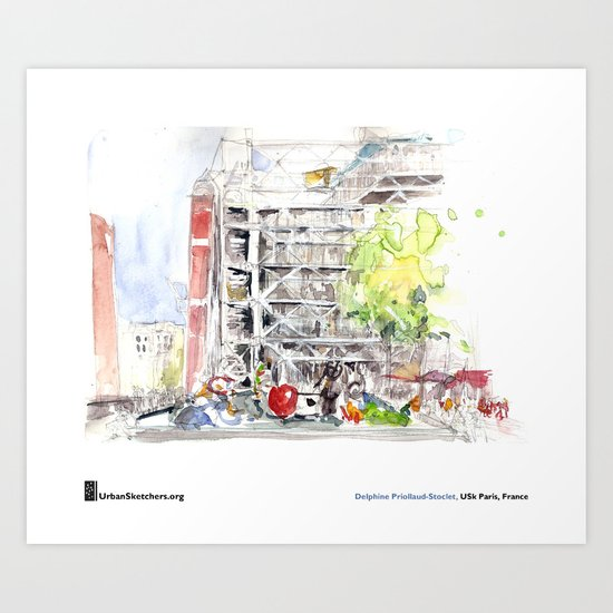 "Delphine_Priollaud-Stoclet, ""Beaubourg Fontaine"" Art Print"