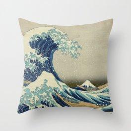 The Classic Japanese Great Wave off Kanagawa Print by Hokusai Throw Pillow