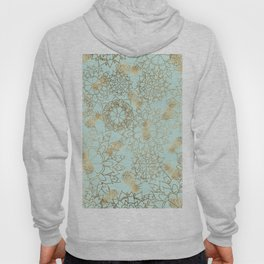Modern teal faux gold pineapple floral illustration Hoody