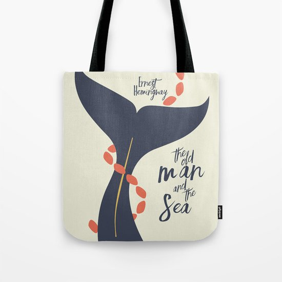 the Old Man and The Sea - Hemingway Book Cover Illustration Tote Bag