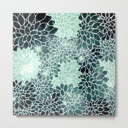 Space Dahlias Spearmint Green Metal Print