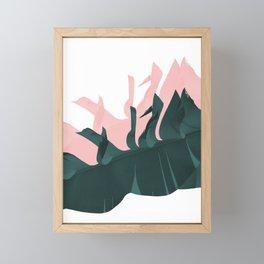 Banana leaves teal pink Framed Mini Art Print
