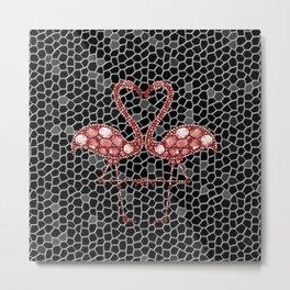 Pink Mosaic Flamingos in Love Metal Print