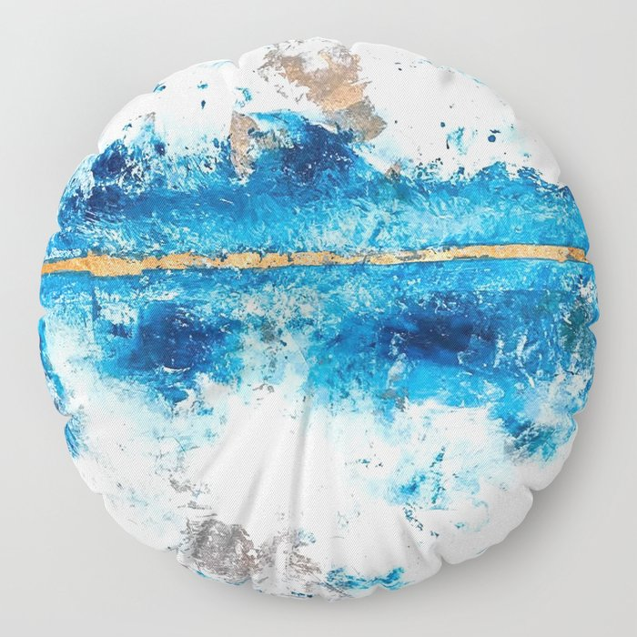 Blue Skies: a pretty, minimal abstract mixed-media piece in blue, white and gold Floor Pillow