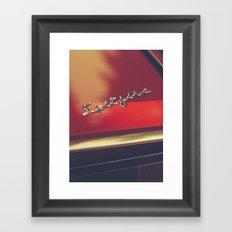 Triumph spitfire, chromed logo, macro photo, supercar details, red auto Framed Art Print