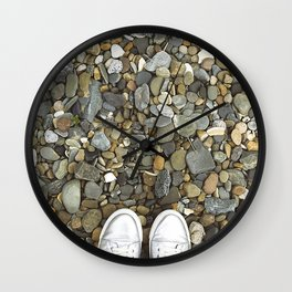 Brown pebbles and silver shoes Wall Clock