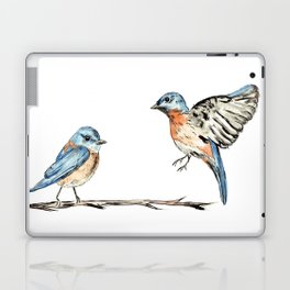 Bluebirds watercolour and ink Laptop & iPad Skin