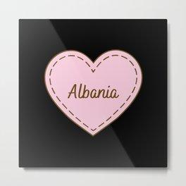 I Love Albania Simple Heart Design Metal Print