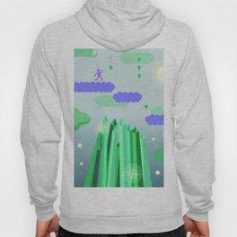 Emerald city running game, clouds, vector art Hoody