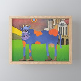 Udderly Frank - Funny Cow Art Framed Mini Art Print