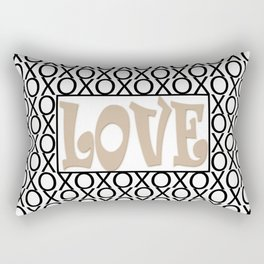 Pantone Hazelnut LOVE XOs (Hugs and Kisses) Typography Art Rectangular Pillow