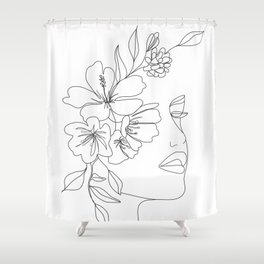 Minimal Line Art Woman Face II Shower Curtain