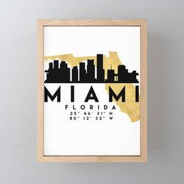 MIAMI FLORIDA SILHOUETTE SKYLINE MAP ART Framed Mini Art Print