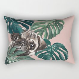 Pug with Monstera Leaf Rectangular Pillow