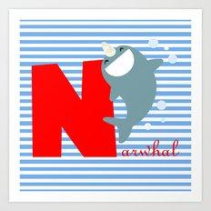 n for narwhal Art Print