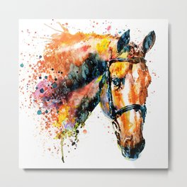 Colorful Horse Head Metal Print