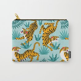Asian tigers and tropic plants on background. Carry-All Pouch