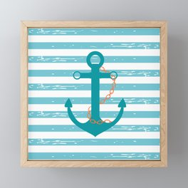 AFE Nautical Teal Ship Anchor Framed Mini Art Print