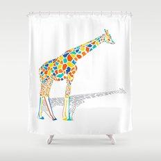 Technicolor Giraffe Shower Curtain