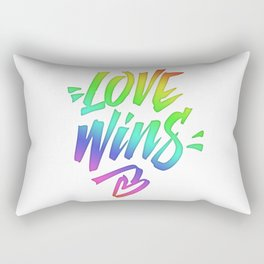 Love Wins Lettering with Rainbow colors Gradient Rectangular Pillow