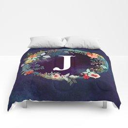 Personalized Monogram Initial Letter J Floral Wreath Artwork Comforters