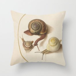 Naturalist Snails Throw Pillow