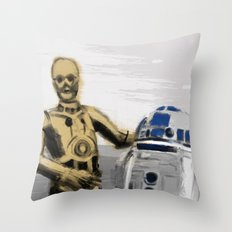 C3PO & R2D2 Throw Pillow