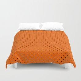 Bright Halloween Orange & Black Polka Dot Pattern Duvet Cover