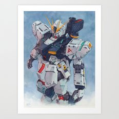 Nu Gundam watercolor Art Print